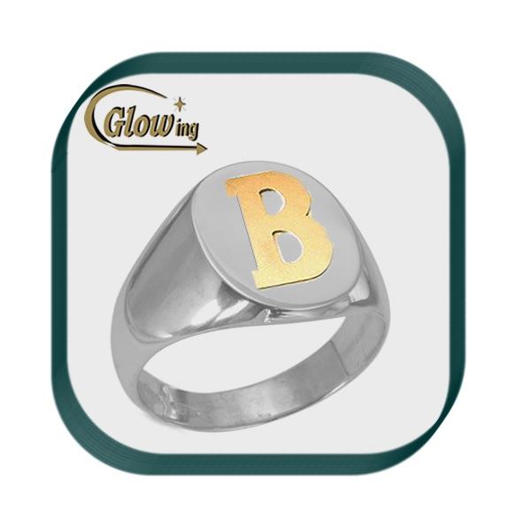 919b0bd51969 Anillo Sello Circular Plata Con Letra De Oro 18k - Diseños ...