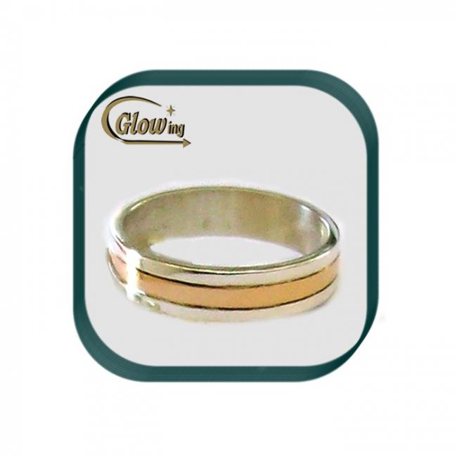 649231ab1901 Anillo De Plata 925 Cinta Con Centro De Oro 18k - Anillos ...