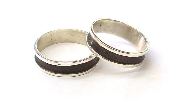 e2f0428d90c1 Par de alianzas de Plata 925 Cinta 6mm con esmaltado ancho negro ALP ...