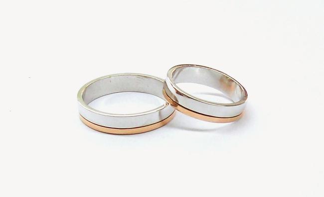 en venta 51a77 7112c Par de alianzas de plata y oro cinta con oro 18K lateral ALC ...