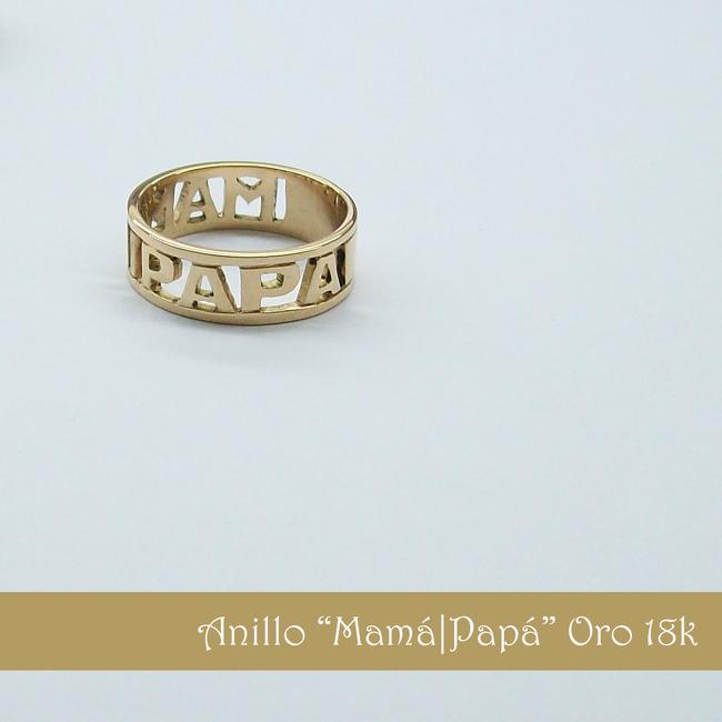 9ba080aa4955 Anillo Mamá Papá oro 18K Macizo con letras caladas - Joyería de ...