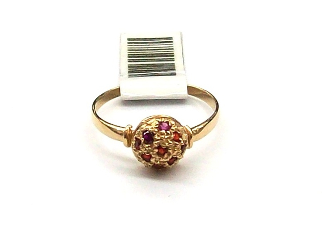 e4895737eab4 Anillo de oro 18k Frutilla con 9 cubics rojos 1