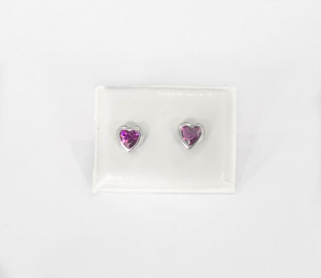 affb2660951f Aros oro blanco con cubic color violeta en forma de corazón - Aros ...