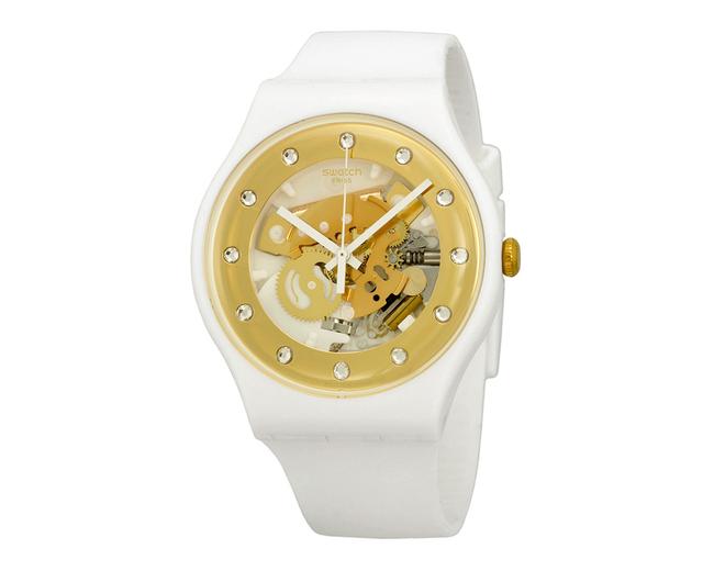 Reloj SWATCH SUOZ148 Sunray Glam blanco y dorado
